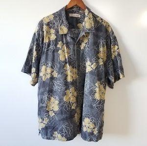 TOMMY BAHAMA• Gray Floral Silk Shirt XXL